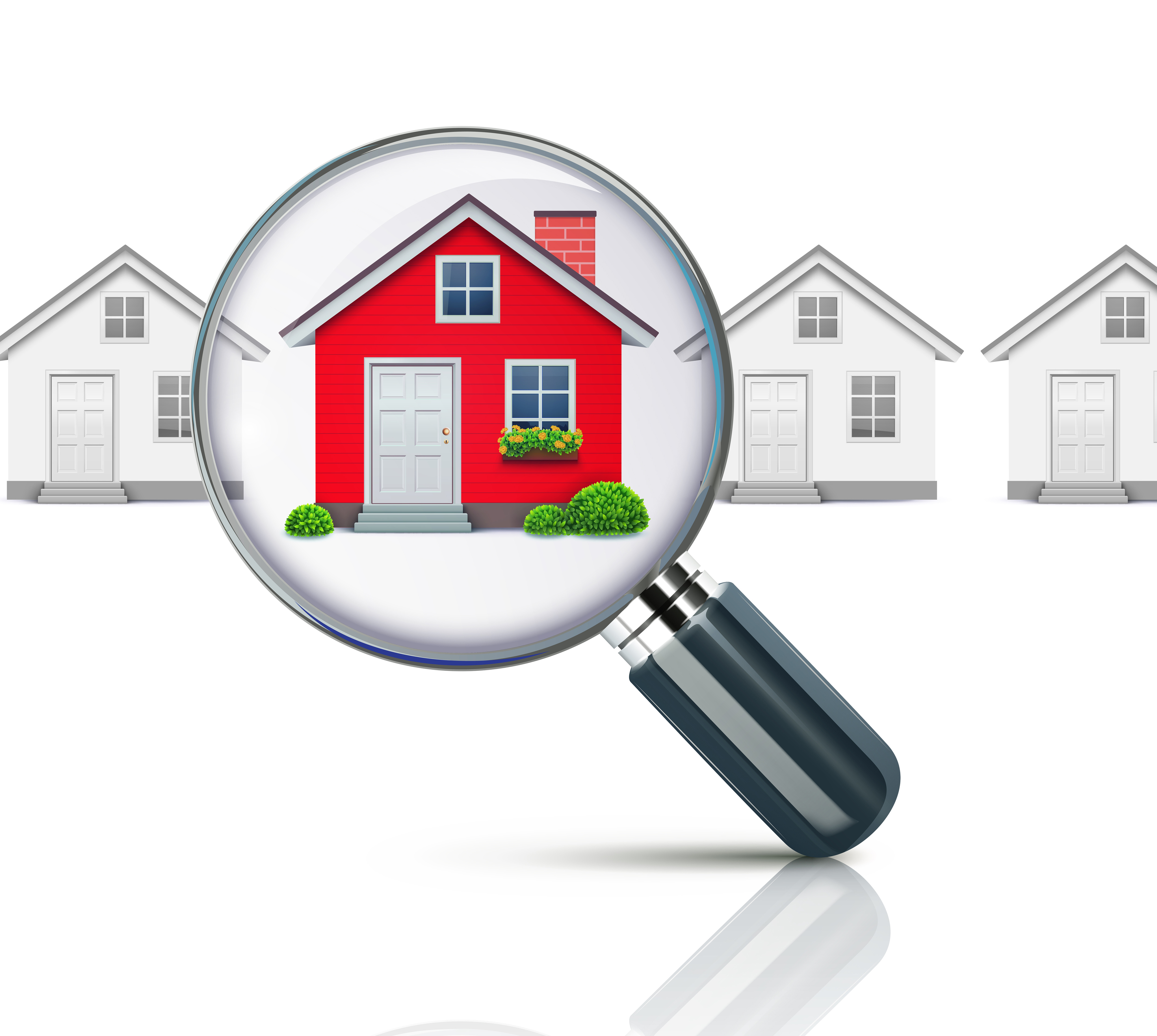 Vector illustration of real-estate concept with magnifying glass and your dream house